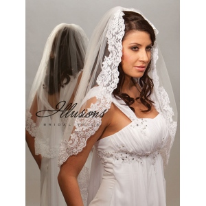 Illusions Bridal Lace Edge Veil 7-301-1L: Pearl Accent