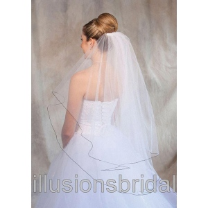 Illusions Bridal Colored Veils and Edges: Black Corded Edge