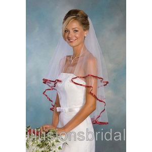 Illusions Bridal Colored Veils and Edges C7-302-3R-GT: Pearl Accent