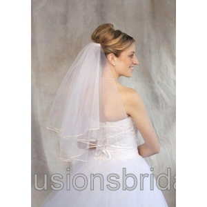 Illusions Bridal Colored Veils and Edges: Pum Pink Ribbon Edge