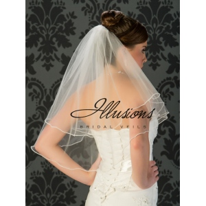 Illusions Bridal Pearl Edge Wedding Veil C7-252-P: 2 Layer, Pearl Accent