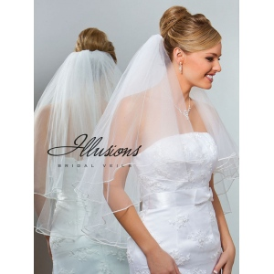 Illusions Bridal Pearl Edge Veil C1-302-P: Rhinestone Accent