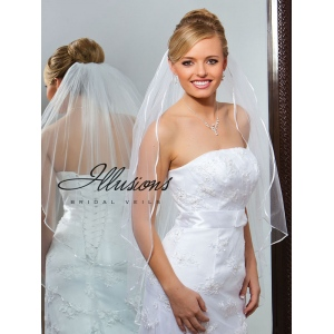 Illusions Bridal Ribbon Edge Veil S7-362-1R: Pearl Accent