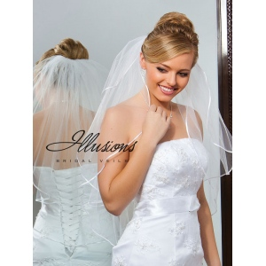 Illusions Bridal Ribbon Edge Veil S7-302-1R: Pearl Accent