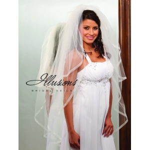 Illusions Bridal Ribbon Edge Veil S1-452-SR: Pearl Accent