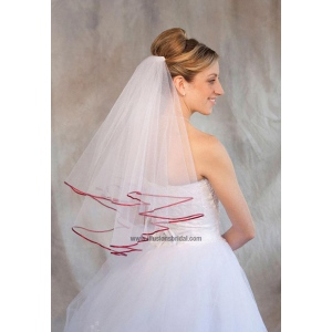 Illusions Bridal Colored Veils and Edges: Garnet Ribbon Edge