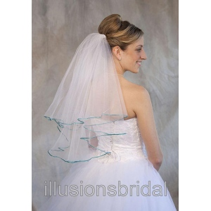 Illusions Bridal Colored Veils and Edges: Aqua Ribbon Edge