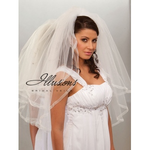 Illusions Bridal Ribbon Edge Veil S1-302-SR: Rhinestone Accent