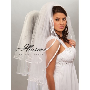 Illusions Bridal Ribbon Edge Veil S1-302-3R-RS: Pearl Accent