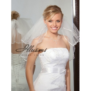 Illusions Bridal Ribbon Edge Veil S1-202-1R: Rhinestone Accent
