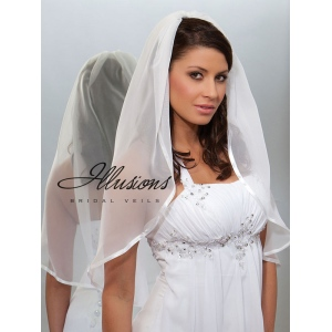 Illusions Bridal Ribbon Edge Veil CH-301-3R: Rhinestone Accent