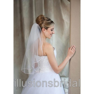 Illusions Bridal Colored Veils and Edge: Pink Rattail Edge