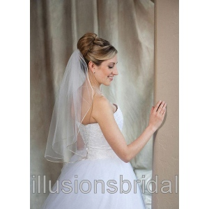 Illusions Bridal Colored Veils and Edges: Cafe Rattail Edge