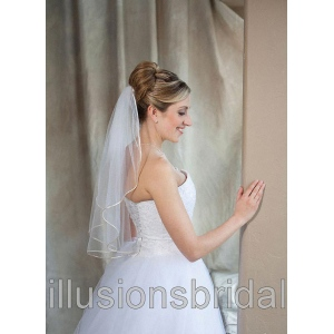 Illusions Bridal Colored Veils and Edges: Beige Rattail Edge