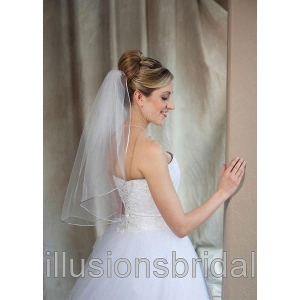 Illusions Bridal Colored Veils and Edges: Antique Silver Rattail Edge