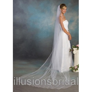 Illusions Bridal Colored Veils and Edges 7-1201-RT-PK with Pink Rattail Edge: Pearl Accent