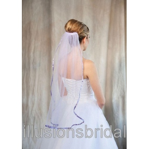 Illusions Bridal Colored Veils and Edges: Victorian Lilac Ribbon Edge