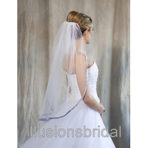 Illusions Bridal Colored Veils and Edges with Lilac Ribbon Edge
