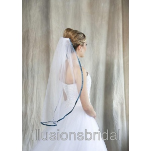 Illusions Bridal Colored Veils and Edges with Teal Ribbon Edge