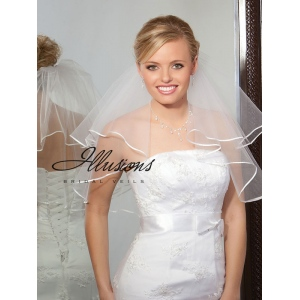 Illusions Bridal Ribbon Edge Veil C7-202-1R: Rhinestone Accent