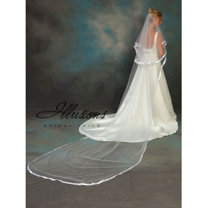 Illusions Bridal Ribbon Edge Veil C5-1442-7R: Rhinestone Accent