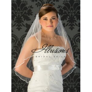 Illusions Bridal Ribbon Edge Veil 7-301-1R: Rhinestone Accent