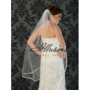 Illusions Bridal Ribbon Edge Veil 5-451-SR: Rhinestone Accent