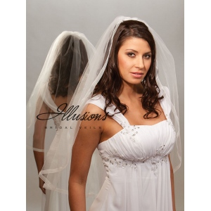 Illusions Bridal Ribbon Edge Veil 5-301-SR: Pearl Accent