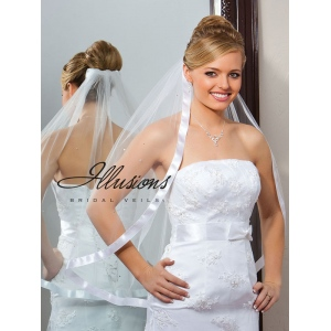 Illusions Bridal Ribbon Edge Veil 5-301-7R-RS: Pearl Accent