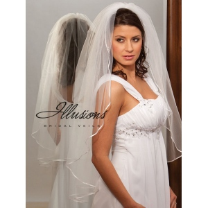 Illusions Bridal Ribbon Edge Veil 1-361-1R: Rhinestone Accent