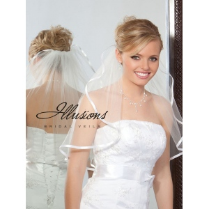 Illusions Bridal Ribbon Edge Veil 1-201-3R: Pearl Accent