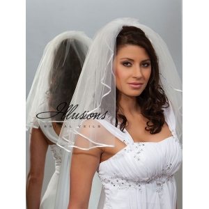 Illusions Bridal Ribbon Edge Veil 1-201-1R: Pearl Accent