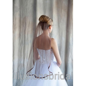 Illusions Bridal Colored Veils and Edges: Chocolate Ribbon Edge