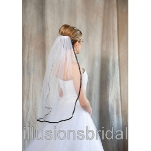 Illusions Bridal Colored Veils and Edges with Black Ribbon Edge