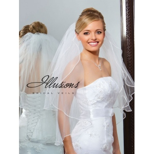 Illusions Bridal Soutache Edge Veil S1-302-ST: Pearl Accent
