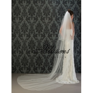 Illusions Bridal Soutache Edge Veil S1-1202-ST: Rhinestone Accent