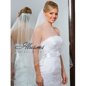 Illusions Bridal Soutache Edge Veil C7-362-ST: Rhinestone Accent