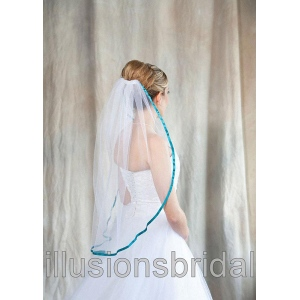 Illusions Bridal Colored Veils and Edges with Aqua Ribbon Edge