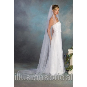 Illusions Bridal Colored Veils and Edges with Navy Blue Corded Edge 1-901-C-NB: Rhinestone Accent