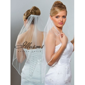 Illusions Bridal Soutache Edge Veil 5-301-ST: Pearl Accent