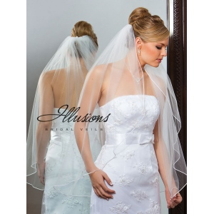 Illusions Bridal Soutache Edge Veil 1-361-ST: Pearl Accent