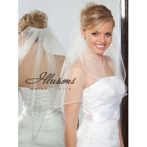Illusions Bridal Soutache Edge Veil 1-201-ST: Rhinestone Accent