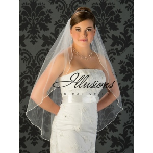 Illusions Bridal Pearl Edge Veil 1-361-P: Rhinestone Accent
