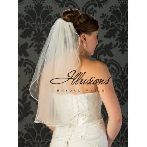 Illusions Bridal Pearl Edge Veil 1-251-PRS: Pearl Accent