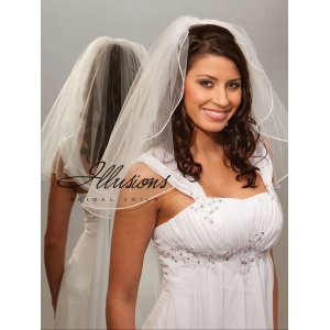 Illusions Bridal Pearl Edge Veil 1-201-P: Rhinestone Accent