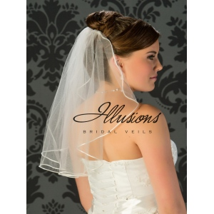 Illusions Bridal Rattail Edge Wedding Veil C7-201-RT: 1 Layer Shoulder Length