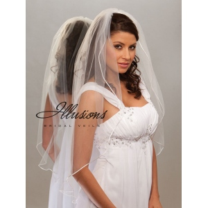 Illusions Bridal Rattail Edge Veil 7-361-RT: Pearl Accent