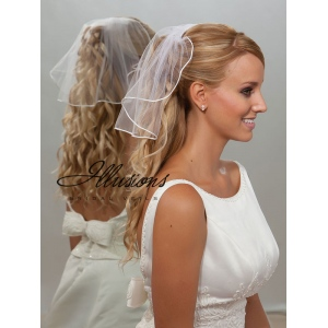 Illusions Bridal Rattail Edge Veil 5-151-RT: Rhinestone Accent