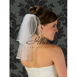 Illusions Bridal Rhinestone Edge Veil S5-152-RS