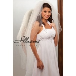Illusions Bridal Corded Edge Veil S1-452-C: Pearl Accent